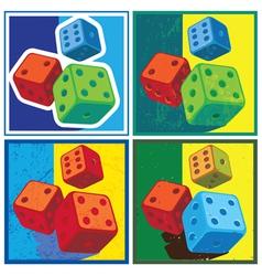 dice in retro style vector image vector image