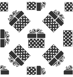 gift box and heart icon seamless pattern vector image vector image