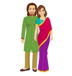 indian young couple in traditional clothing vector image vector image