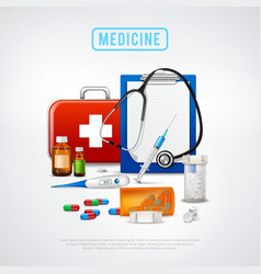 medical tools kit background vector image vector image