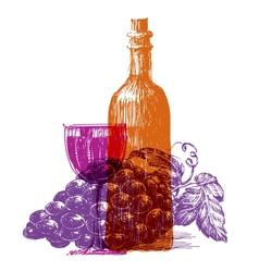 retro wine logo design template grape or vector image