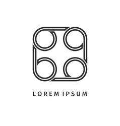 Abstract black square spiral logo outline design vector image