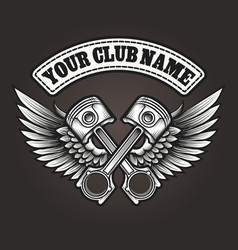 biker club emblem with winged pistons vector image vector image