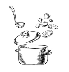 Cooking process of soup with vegetables vector image