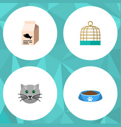 flat icon animal set of fish nutrient kitty cat vector image vector image