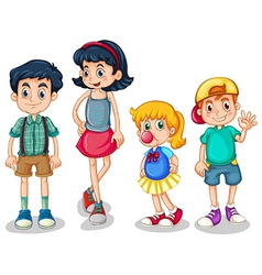 Four siblings vector image vector image