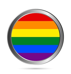 Gay flag metal button vector image vector image