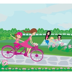 relaxing in the park on a summer day vector image vector image