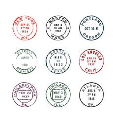 set of vintage postage stamps vector image