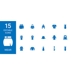 15 wear icons vector