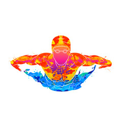 Abstract a swimmer butterfly from splash of vector