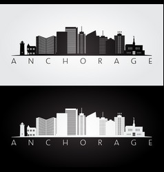 Anchorage usa skyline and landmarks silhouette vector