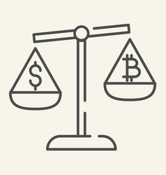 Balance of money and cryptocurrency thin line icon vector