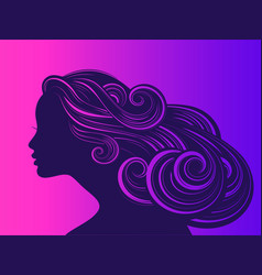 Beautiful girl with long thick wavy hair beauty vector