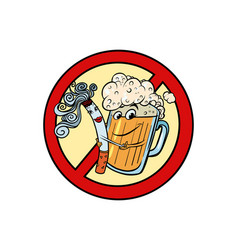 Beer and cigarette sign ban vector