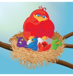 Bird with chicks in the nest vector