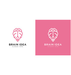 brain and bulb logo design line art vector image