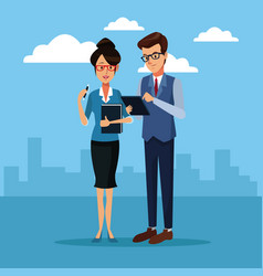 Business people outside cartoon vector