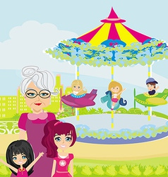 carousel in city vector image