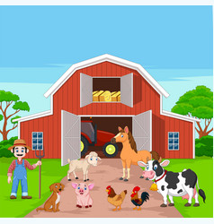 cartoon farmer and farm animals in barnyard vector image