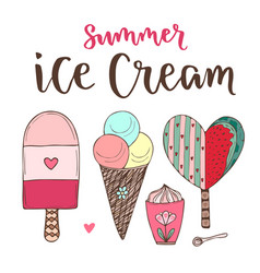 Cartoon ice cream set cones and cute icecream in vector