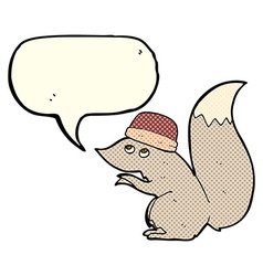 Cartoon squirrel wearing hat with speech bubble vector