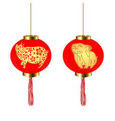 chinese new year two red round chinese lanterns vector image