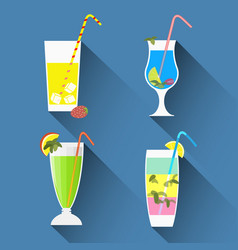 cocktails icons with long shadowsflat style vector image