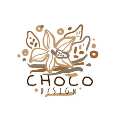 Coffee hand drawn original logo design with cocoa vector