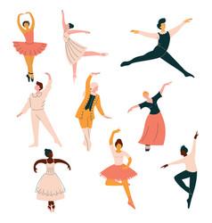Collection ballet dancers men and women vector