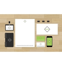 Corporate identity design mock-up on wooden vector image