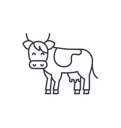 cow line icon concept cow linear vector image