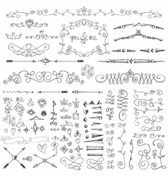 doodle borderarrowsdecor element kit vector image