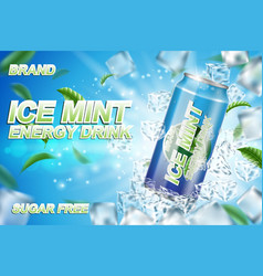 energy drink label ads with ice cubes and mint vector image