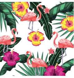 exotic bird and tropical leaves background vector image