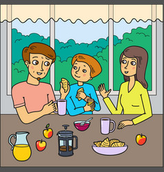 Family eating breakfast together vector