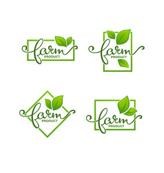farm product organic leaves emblems elements vector image