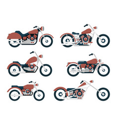 Flat classic motorcycle set vector