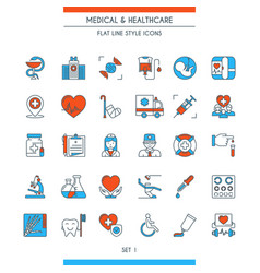 flat line design medical icons 1 vector image