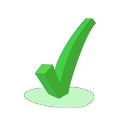 Green check mark icon cartoon style vector