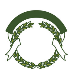 green olive branches and ribbon interlace vector image