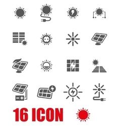 Grey solar energy icon set vector