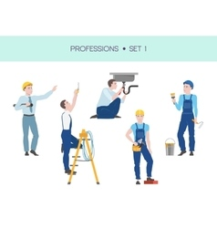 Group of workers set vector image
