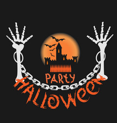 halloween party poster with a skull vector image