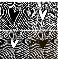 Hand drawing heart in the form of a fingerprint vector