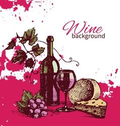 Hand drawn wine vintage background vector