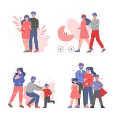 happy families collection parents and their vector image