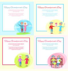 Happy grandparents day posters set senior couple vector