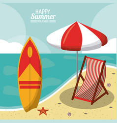 Happy summer holidays poster beach travel chair vector