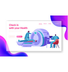 Hospital mri machine patient brain scan web page vector